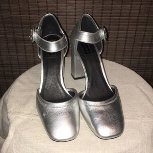 Topshop silver Mary Janes size 39